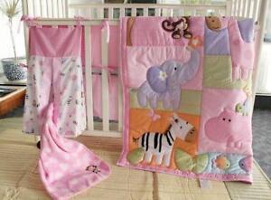 Pink Zoo Cotton Baby Crib Cot Bedding Quilt Bumper Sheet Dust Ruffle Set of 6pcs