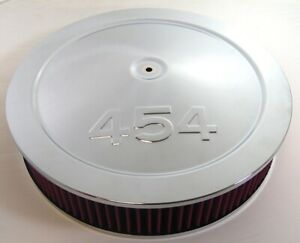 """14"""" Chrome Muscle Car Air Cleaner St 454 Logo Fits 5-1/8"""" Carb  Washable element"""