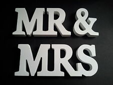 MR & MRS Wood Block White Letters ~ Wedding Gift or Table Decoration MR AND MRS