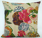 """Floral Pattern Handmade White Cushion Cover Kantha Style 40cm Pillow Case 16"""""""