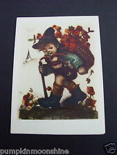 #H445- Unused Herbert Dubler Hummel Xmas Greeting Card Boy & Basket of Flowers