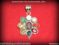 Navratan Pendent / Nine Gem stone Pendent - In Silver