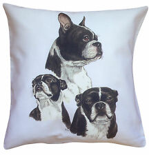 Boston Terrier Breed of Dog Group Cotton Cushion Cover - Perfect Gift