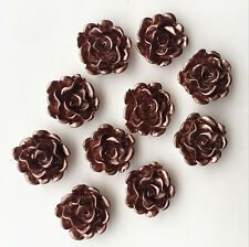 10x  Shiny coffee Resin Rose Flower flatback Appliques For phone/wedding/crafts