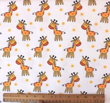 SNUGGLE FLANNEL *HAPPY YELLOW GIRAFFE on WHITE* 100% Cotton Fabric BTY