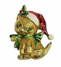 Vintage Gerry's Christmas Kitten Brooch Gold Tone Cat Green Rhinestone Santa Hat