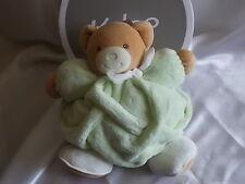 Doudou ours boule, plume, vert, 25 cm, Kaloo, neuf étiquette