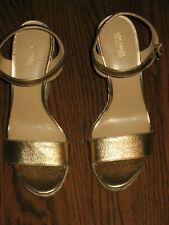 New Michael Kors Jill Espadrille Leather Wedge Platform Sandals Gold 7.5 shoes