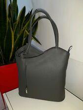 Rucksack Hand Tasche Shopper  Echt Leder Grau Trage Tasche Schulter Backpack