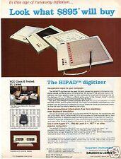 1982 Bausch & Lomb Houston Instrument HIPAD Digitizer Print Ad