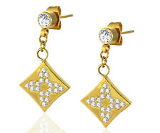 Ladies CZ Yellow Stainless Steel Star Flower Cross Square Long Drop Stud Earring