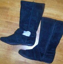 Tall Boots Black 7 Flat Faux Suede Yoke Maya II Women size 7 New