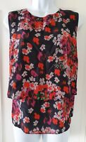 Womens Hobbs Black Red Floral Layered Tiered Sleeveless Silk Blouse Top 14.
