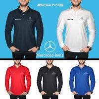 Mercedes Benz AMG Polo T Shirt EMBROIDERED Auto Car Logo Mens Cotton Long Sleeve