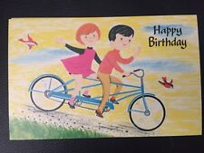 Vintage Cartoon Postcard Kids On Bicycle Built For 2 - psalms Birthday Card New