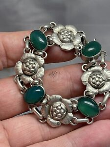 "georg jensen bracelet 830 Silver Green Agate Ston 7"" Long"
