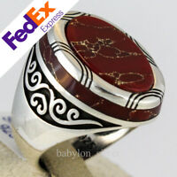 925 Sterling SILVER Agate Stone Luxury Turkish Handmade Men's Ring All Sizes