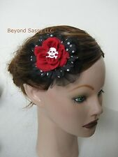 New Halloween Red Black Silk Flower Skull Gothic Rose Flower Hair Clip