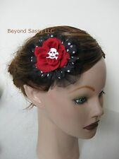 New Halloween Red Black Silk Flower Skull Gothic Rose Flower Hair Clip