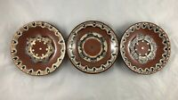 Set of Three Vintage Bulgarian Folk Hand-Painted Red Clay Plates, Troyan Pottery