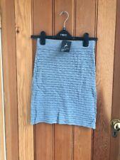 primark grey textured knitted tube skirt size 6 bnwt wool blend