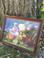 Vintage Solid Wood Scalloped Ruffled Picture Frame Floral Peonies Print 18x23
