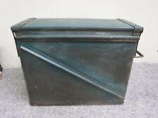 Vintage Army Green Metal Large Ammo Box