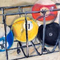 Billiard Pool Balls Cool Oil painting signed 8x10 in 20x24cm Still Life Realism
