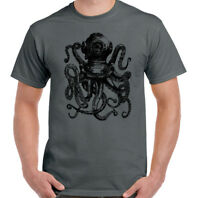 SCUBA DIVING T-SHIRT Mens Octopus Deep Sea Diver Dive Mask Flippers Tank Kit TOP