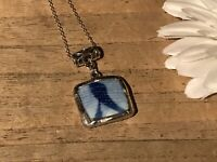 Recycled Broken Porcelain Jewelry, Asian Blue & White Pendant
