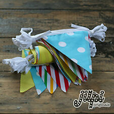 30ft (9m) JILPI ACE PARTY FABRIC BUNTING / BANNER, HANDMADE, MULTI COLOURED, NEW