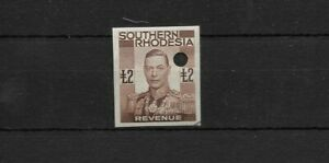 Southern Rhodesia £2 Revenue Proof Imperf KGVI with punch hole
