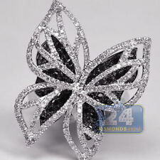 Charming Butterfly White Black Sapphire Two Tone Silver plated Wedding Ring