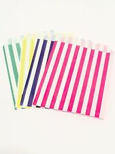 X100 Pink Blue Yellow & Green Paper Sweet Bags Candy Buffet Kids Cake Loot Party