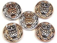 5 - 2 HOLE SLIDER BEADS MIXED METAL OWLS, OWL BIRD BEADS SILVER, COPPER & BRASS