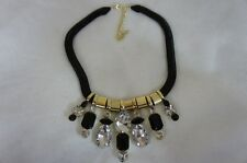 Material Girl Necklace Womens Accessories Black Gold Stone Statement Necklace