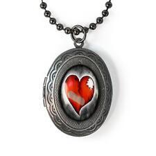 Love Hurts Broken Heart Glass Gunmetal Gothic Valentine Keepsake Locket Necklace