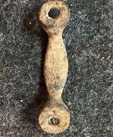 "Antique 1800s 2-5/8"" Cast Brass Bronze Drawer Chest Pull Handle Metal DetectorAA"