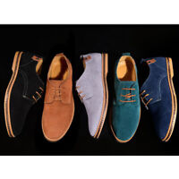 Men Lace up Canvas Shoes Casual British Fashion Suede Sneakers Oxford Low Top