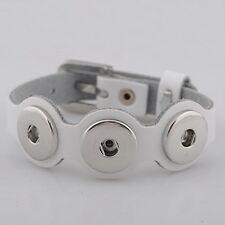 Leder ARMBAND größenverstellbar 3 Chunks Druckknopf Button Chunk - Weiß #4145