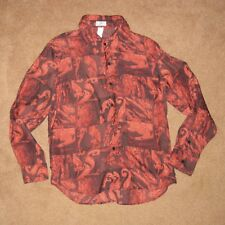 VTG 90s 1999 Gianni Versace Couture RED FIRE Patch Barocco 100% SILK Shirt IT 50