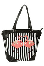 Banned Apparel Vintage Retro Striped 'Blair' Black Flamingo Shoulder Bag Handbag