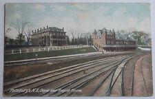 1909 Postcard Of Plattsburgh New York Train Depot Railway & Foquet House