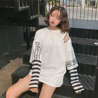Lady Baggy Blouse Harajuku Shirts Tops Layered Long Sleeves O Neck Autumn Casual