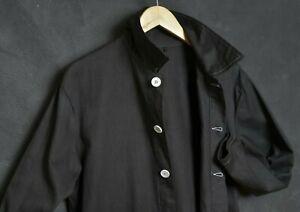 VTG FRENCH Workwear Men Jacket L Worker Chore Cotton Black Hobo Labourers Coat