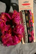 LOT of FOUR(4) HAIR CARE ITEMS New Pack of 3 Headbands & Handmade Pink Scrunchie