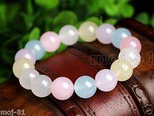 12MM 100% Natural Multicolor JADE Jadeite Round Gemstone Beads Bangle Bracelet