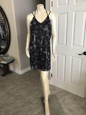 NEW XhilarationBlack Floral V-Neck Sequin Slip Dress Strappy back, size Medium