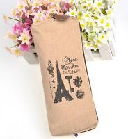 Canvas Eiffel Tower Pencil Pen Case Cosmetic Bag Coin Purse Pouch Zipper New