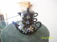 Teapot Vtg Stackable Floral Blue & Cream Brown Pottery Ceramic Made In Japan